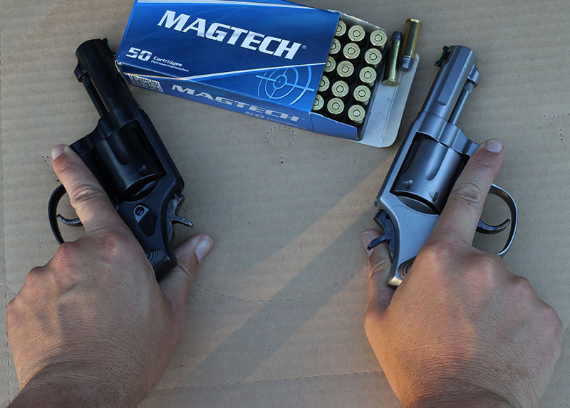 A simple way to build skill shooting the handgun with either hand is to challenge yourself to a shoot off. A little friendly competition makes training more effective. Matched pair like these custom Defensive Creations three-inch K-Frames not required.