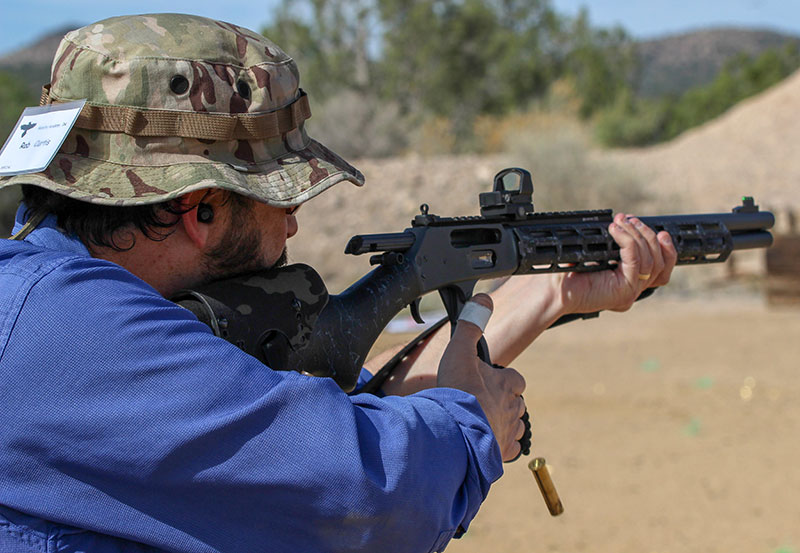 Writer Rob Curtis fires drill with his customized tactical lever gun.