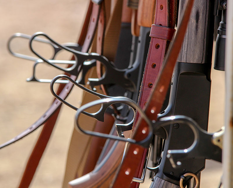 Rack full of lever-action rifles awaits action at Gunsite Academy during The Craft of the Lever Gun event.