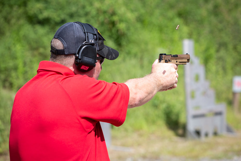 Author takes advantage of range time at SIG Academy with P320-M17.