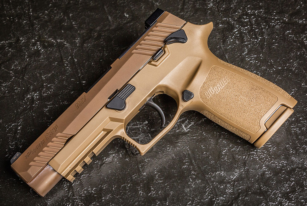 SIG Sauer P320-M17 is a civilian clone of the U.S. Army's recently selected service weapon. FDE Nitron finished slide complements FDE polymer frame. Nitron black controls are aesthetically pleasing and functional.