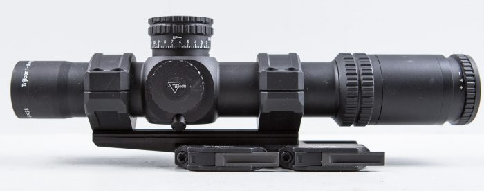 Magnification dial is visible on left side of Trijicon 1-8X28 Accupower.