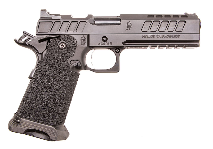 Right side of pistol shows ambidextrous safety. Large machined-out area behind ejection port is for weight reduction.