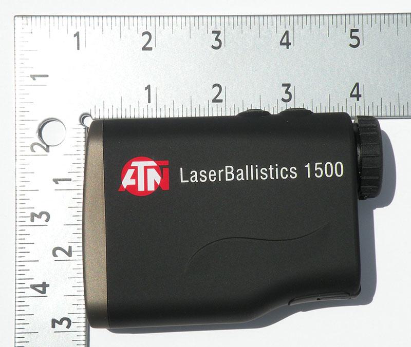 ATN LaserBallistics Rangefinder measures 4 3/8 x 3 inches.
