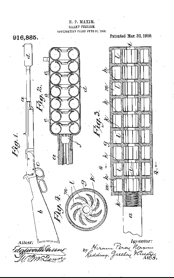 Drawing from patent application for Silent Firearm filed by Hiram Percy Maxim in 1908. Although today's suppressors are more sophisticated, they work in the same way. Photo: U.S. Patent Office