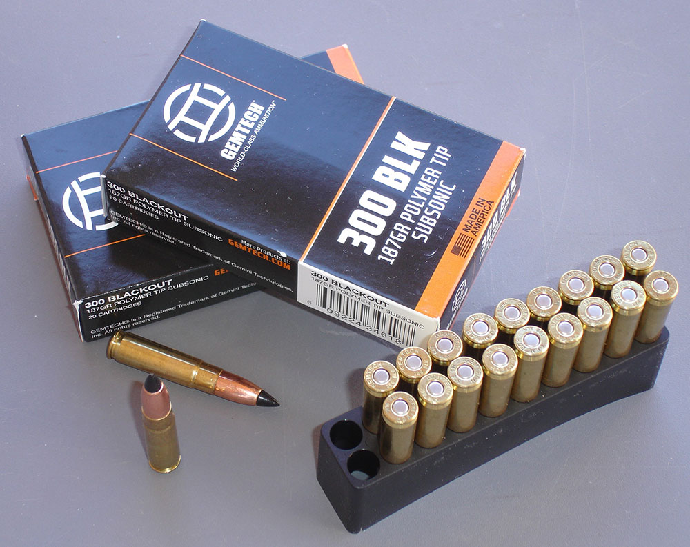Gemtech .300 BLK 187-grain subsonic ammunition is tipped with polymer to increase ballistic coefficient and for maximum expansion upon impact.