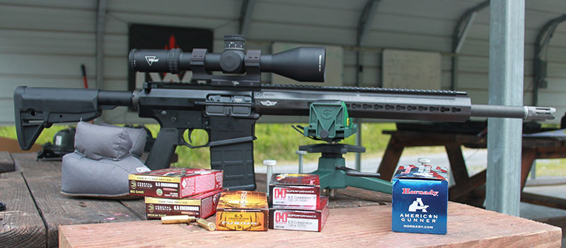 Initial sighting in and accuracy sampling of various Hornady and Federal 6.5 Creedmoor loads was conducted from bench.