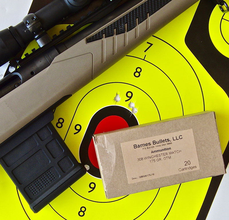 100-yard three-shot, one-inch group with Barnes 175-grain OTM.