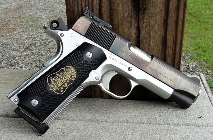 Roland UV printed FBI badge on author's Novak Colt Commander.