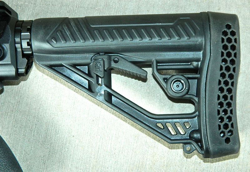 QD sling sockets are on both sides of six-position adjustable buttstock.