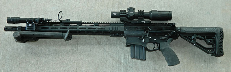 AR500 as tested with EOTech scope, TangoDown bipod, and SureFire Scout Light.