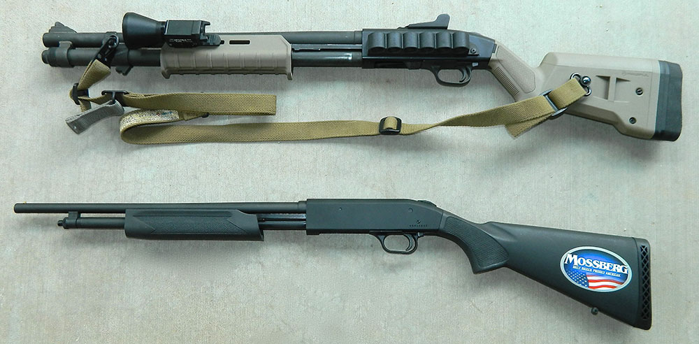 Minimal recoil and muzzle blast of Mossberg 500E .410 shotgun (bottom) allow neophyte to concentrate on stance and working the action before moving on to a larger bore such as Mossberg 590A1.