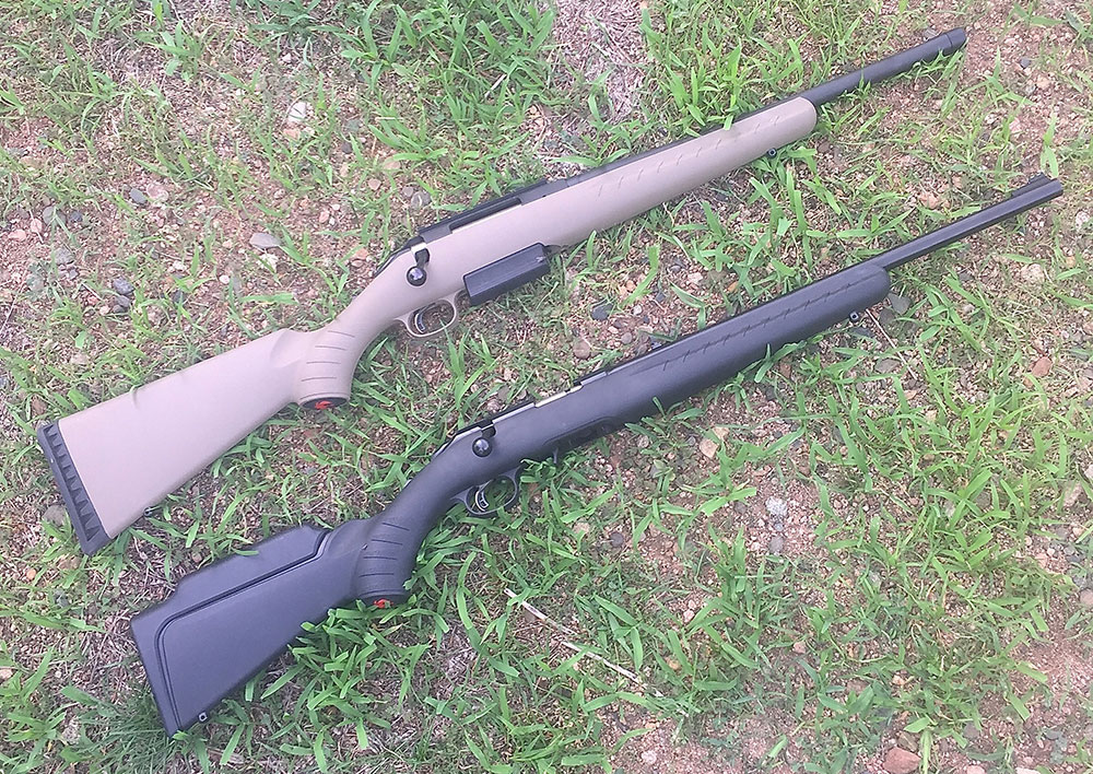 With the exception of the length of the bolt throw, Ruger American Rimfire (bottom) operates exactly as Ruger American chambered in .450 Bushmaster.
