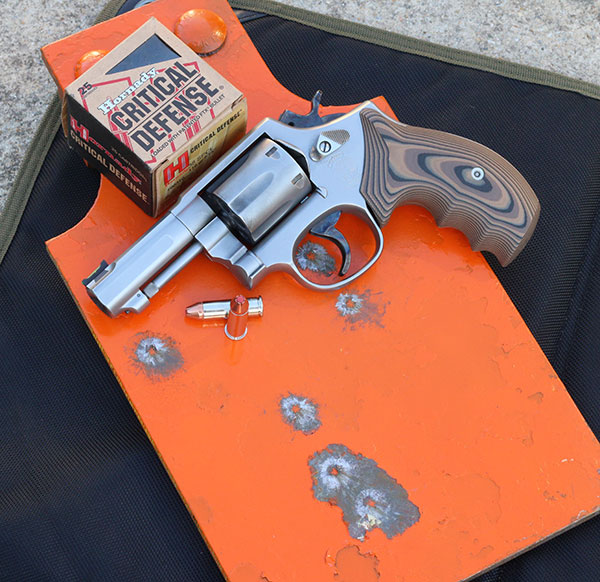 40-yard DA group with Hornady Critical Defense on Defense Targets steel. Double-action pull was so smooth that hitting at distance was easier than expected for a compact revolver.