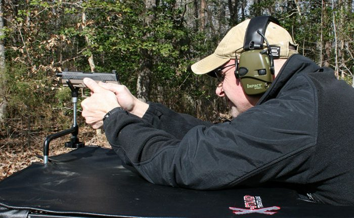 P320 C silencer platform was first shot for accuracy and velocities without and with suppressor attached.