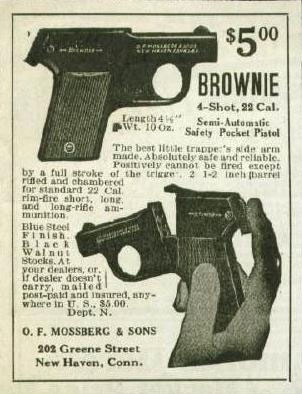 Early print ad for Mossberg Brownie.
