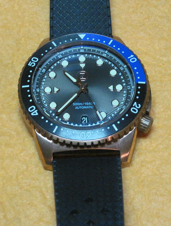 Zelos Mako Bronze Diver watch on rubber diving strap.