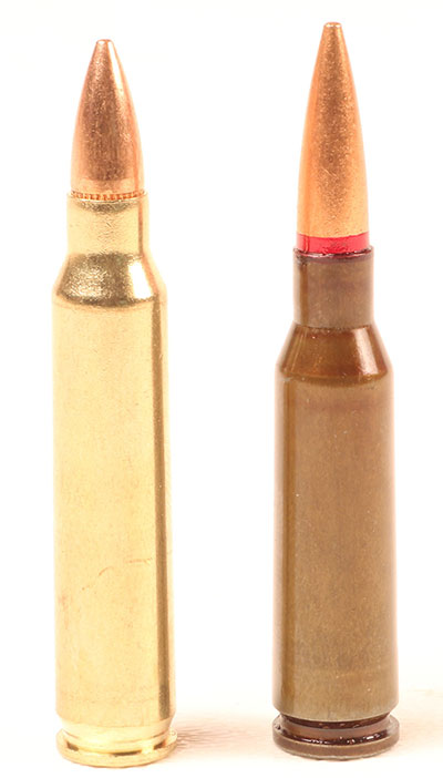 7N6 5.45x39mm Combloc round (right) first saw service a decade after U.S. 5.56x45mm went to war. While conceptually similar, these are two very different cartridges.