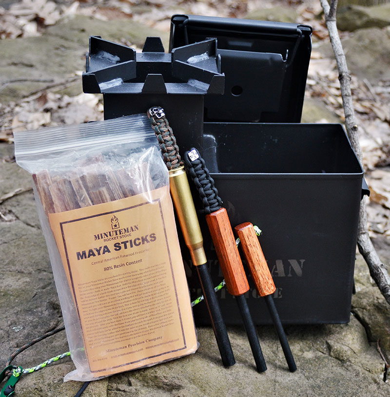 "Minuteman Stove comes packed in an ""ammo can"" and can be supplied with additional items like top-quality Maya Sticks and proprietary ferro rods. All these accessories can be packed inside the stove for safekeeping."