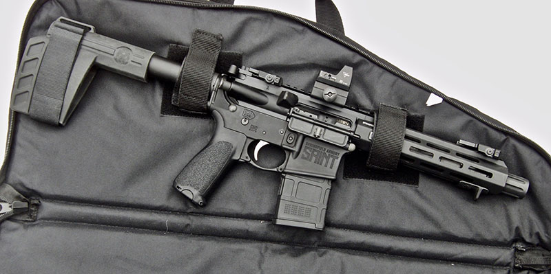 SAINT comes with well-designed carrying case that allows pistol to be carried with a 20-round magazine in place. It has pouches on its exterior for additional 30-round magazines.