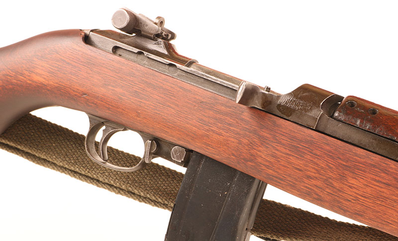 Late-model M1 Carbines featured rotating safety lever and adjustable rear sight.
