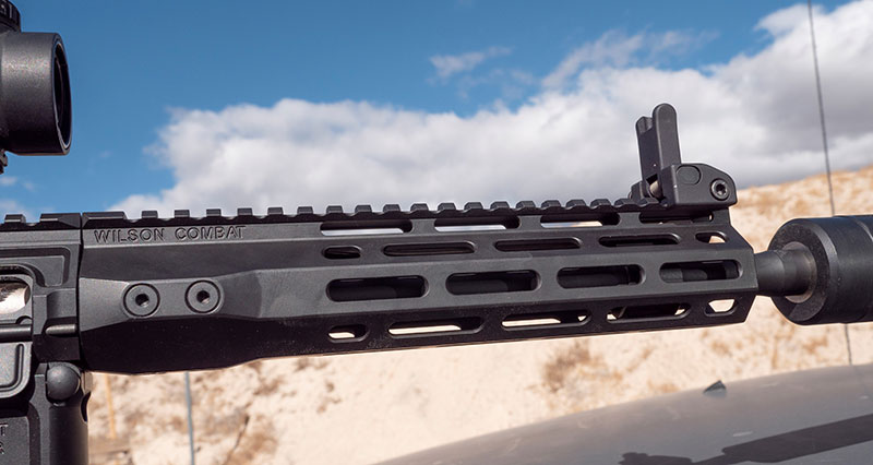 Extending most of barrel's length, Wilson Combat handguard is thin, lightweight, and comfortable. M-LOK slots along its length provide ample places for accessories.