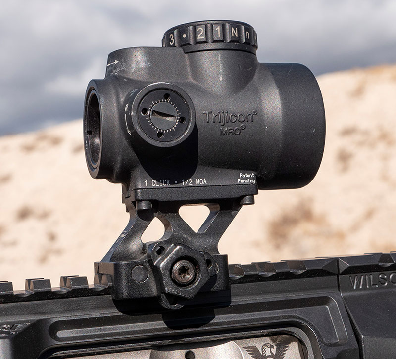 Trijicon MRO is rugged and reliable without the weight and tunneling effect. Green LED is easy on the eye in all conditions.