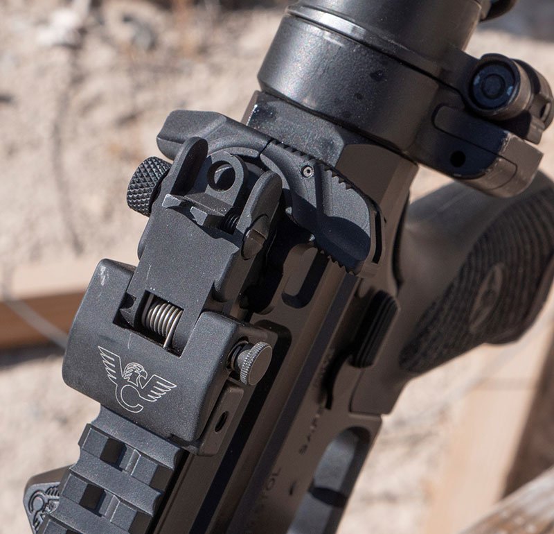 Wilson Combat rear sight folds flat, making it easy to add low-power variable optics while keeping irons at the ready if needed.
