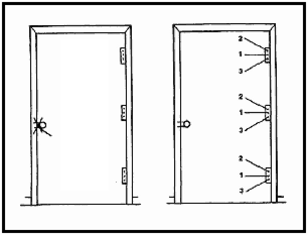 Suggested target locations for breaching door at latch (left) and hinges (right). Photo: U.S. Army Field Manual FM 3-06-11, Figure 3-26
