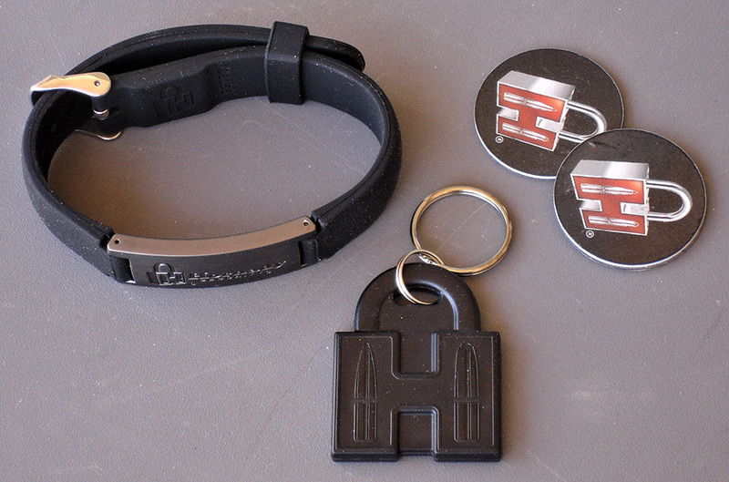 "RFID unlocking system on Hornady RAPiD Vehicle Safe can be triggered through included RFID-enabled tags specifically programmed for each safe. RAPiD Vehicle Safe also comes with RFID Adjustable Wristband, RFID ""H"" Key Fob, and two RFID Adhesive Decals."