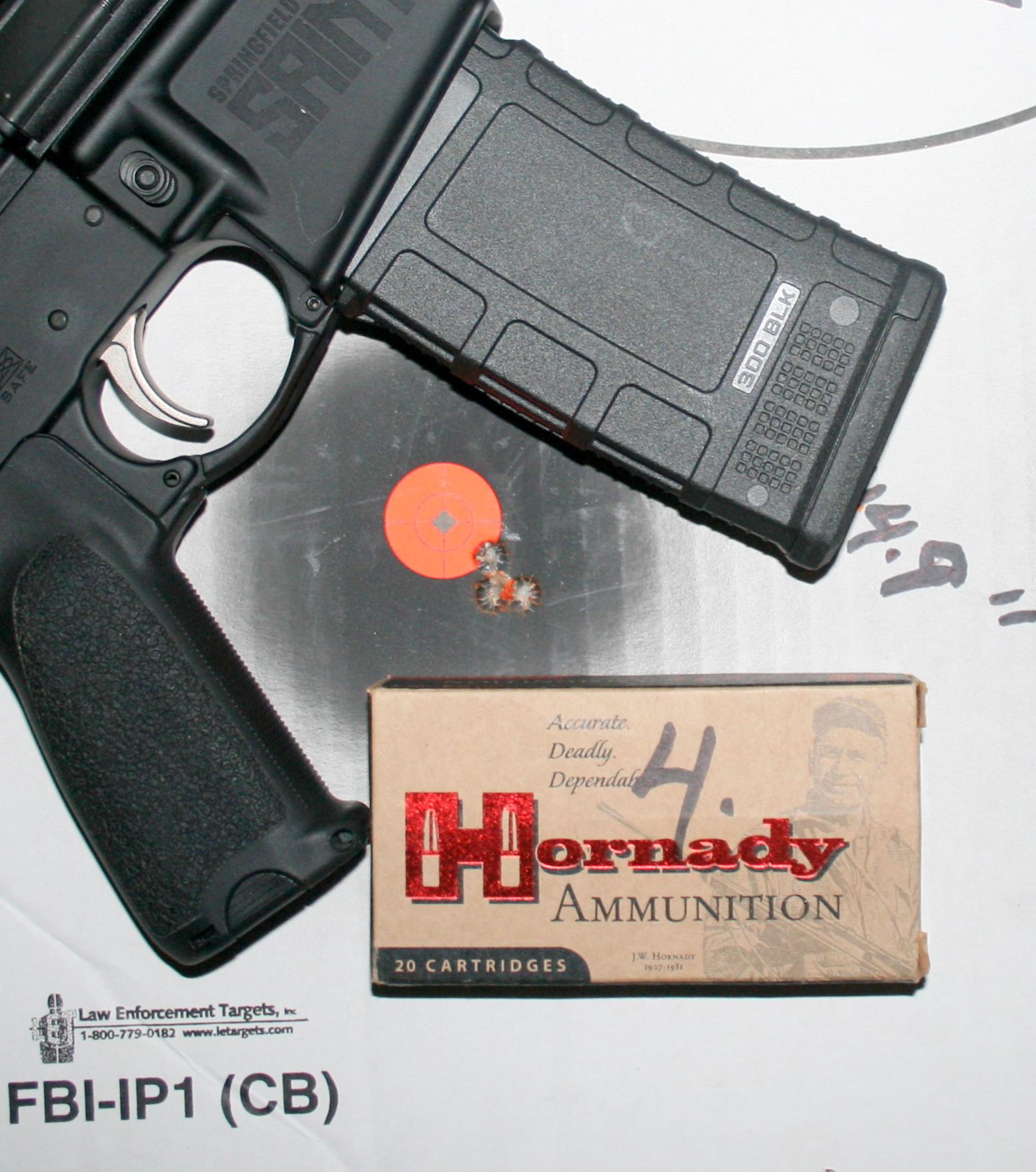 Hornady 135-grain FTX and SAINT produced one-hole group.