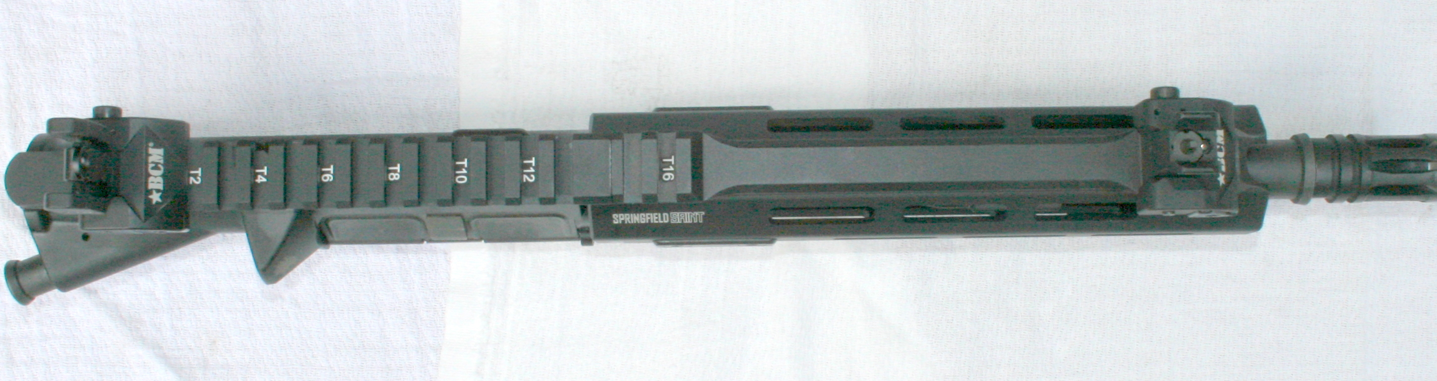 SAINT's top rail has numbered brackets for consistent mounting and remounting of sights.