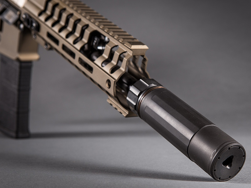 Multi-caliber rated up to .300 WinMag, 5.4-inch Dead Air Armament Sandman-K QD suppressor adds only 2.9 inches to firearm's length.