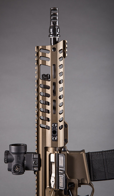 P415 features POF-USA's newly redesigned Edge rail M-Rail handguard. Size has been reduced from the original by nearly 20%: Width is only 1.75 inches. It features full M-LOK compatibility; front top and bottom section of rail for sights, bipod, or other accessories; and four QD sling mount slots.