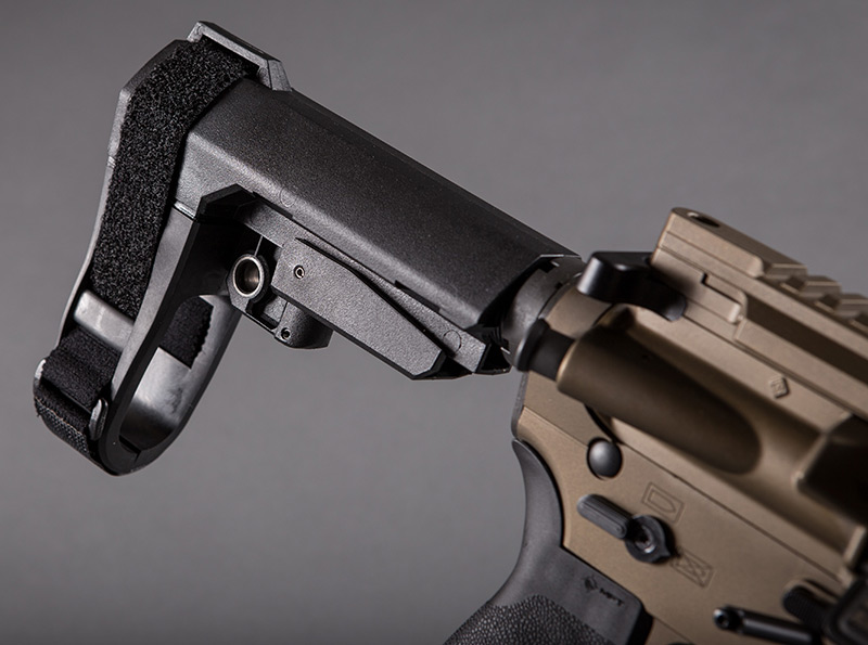 Five-position adjustable SBA3 Pistol Stabilizing Brace combines minimalist design with integral ambidextrous QD sling socket. It uses a milspec carbine receiver extension (buffer tube).