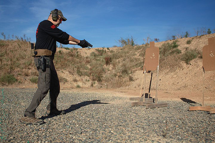 Simulating the threat is down by aiming at the base of the target stand is the latest tactical shooting fad.