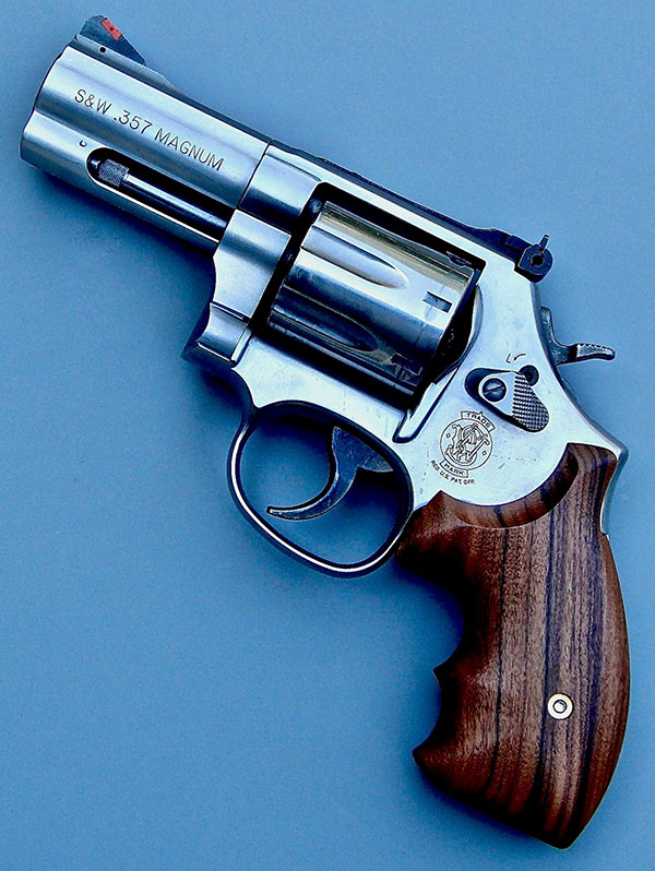 Among other three-inch barreled S&W .357 Magnums Thompson has used is this U.S. Customs Service 686.