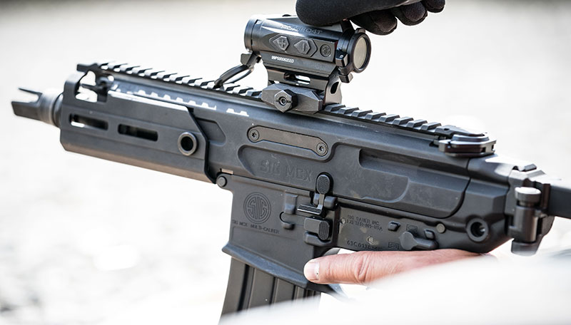 MCX Rattler has full-length MIL-STD-1913 (Picatinny) rail on top for attaching accessories, as well as M-LOK attachment points on handguard. Rattler shown with SIG Romeo 4T 1x20mm red dot sight.