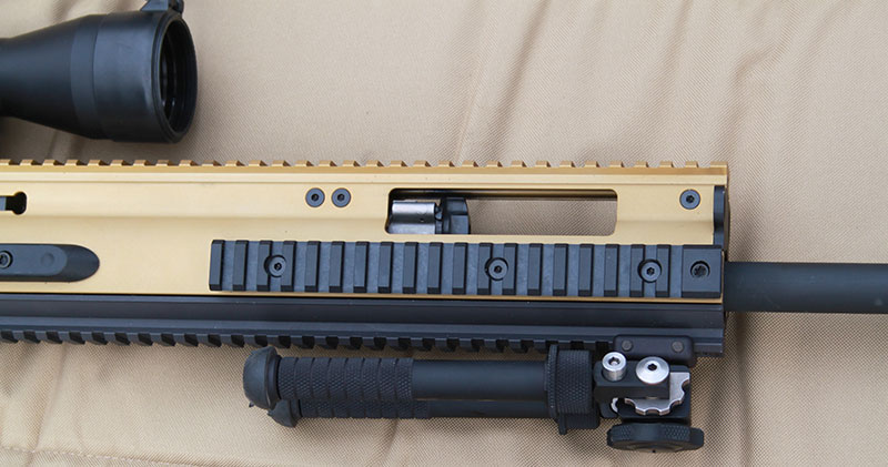 FN SCAR 20S features extended forend with gas system adjustable depending on if suppressor use is desired.