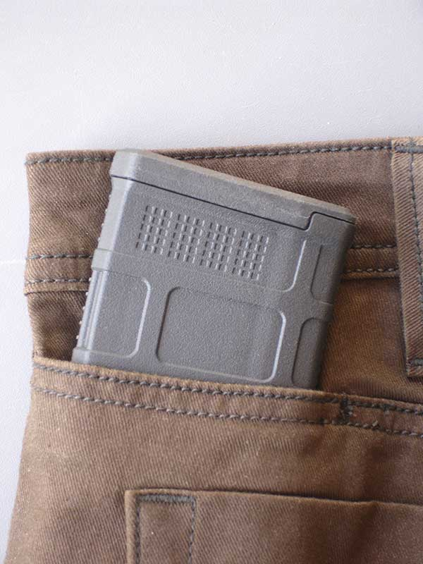 Defender-Flex line features traditional five-pocket styling (six pockets in the case of the women's pant) with the addition of two hip mag pockets, for a total of seven pockets. Hip mag pockets are designed to discreetly hold 30-round AR magazines, such as this Magpul PMAG.