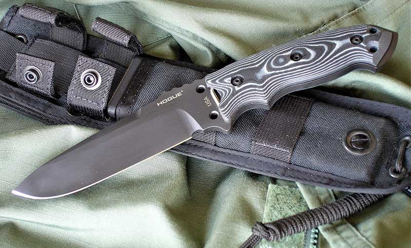 Hogue EX-F01 is an outstanding combat and survival knife. It's available in two blade lengths and comes with Hogue milspec Cordura Ballistic Nylon sheath.
