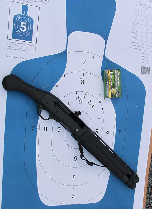 Remington Ultimate Defense managed recoil. #4 buckshot at 20 yards from V3 TAC-13.