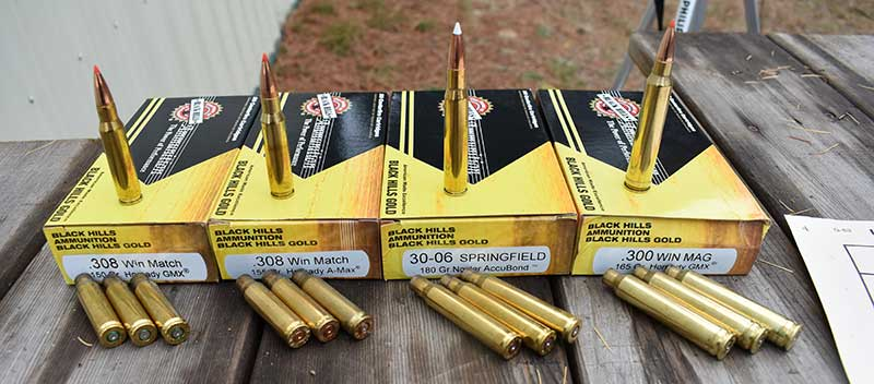 Left to right: .308 150-grain GMX, .308 155-grain A-Max, .30-06 180-grain Nosler, and .300 Win Mag 165-grain GMX.
