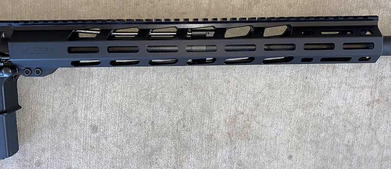 Free-float handguard's Picatinny rail and M-LOK attachment points.