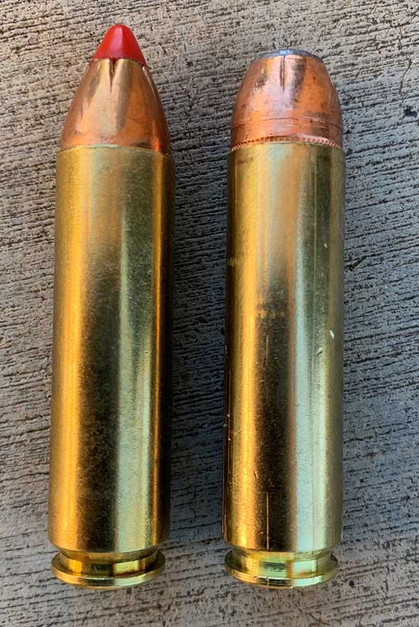 Hornady (left) and Double Tap .450 Bushmaster ammo were evaluated.