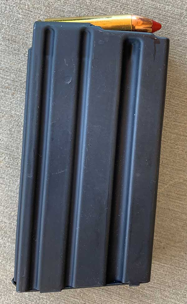 Magazine is same size as a 20-round AR mag, but two are not interchangeable.