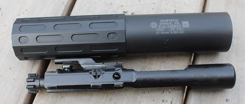 Gemtech One suppressor works from .22 to .300 Win Mag and is full-auto rated.