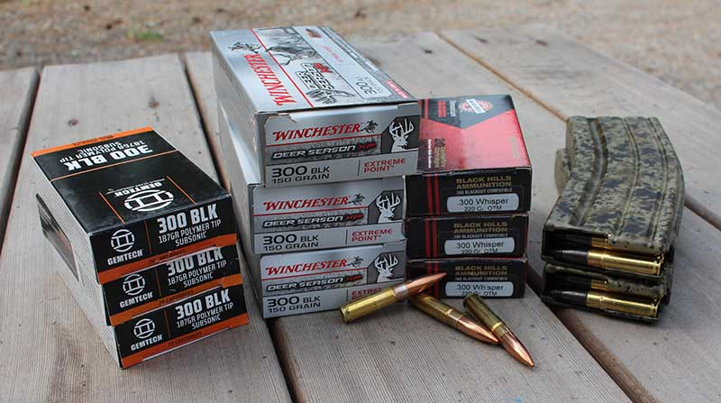Gemtech, Winchester, and Black Hills ammo. Author stocked 100 rounds of each for special purposes.