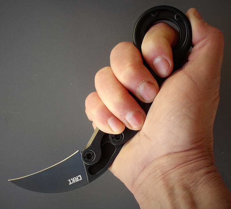Provoke's safety ring provides retention and makes knife tough to disarm.