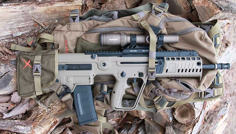 Major attribute of IWI Tavor X95 is 16-inch barrel while maintaining overall length similar to SBR platform. It is easily transported in packs such as ALPS OutdoorZ Hybrid X.